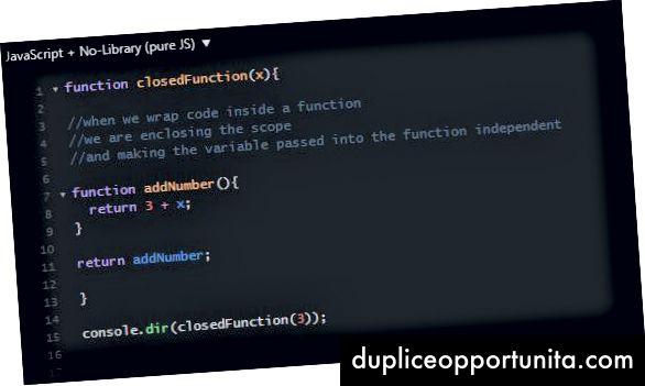 La funzione tradizionale all'interno di un esempio di struttura di chiusura della funzione