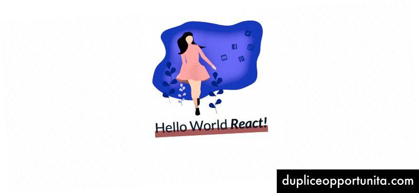 デフォルトの状態「React」を持つ基本的なHello Worldアプリ