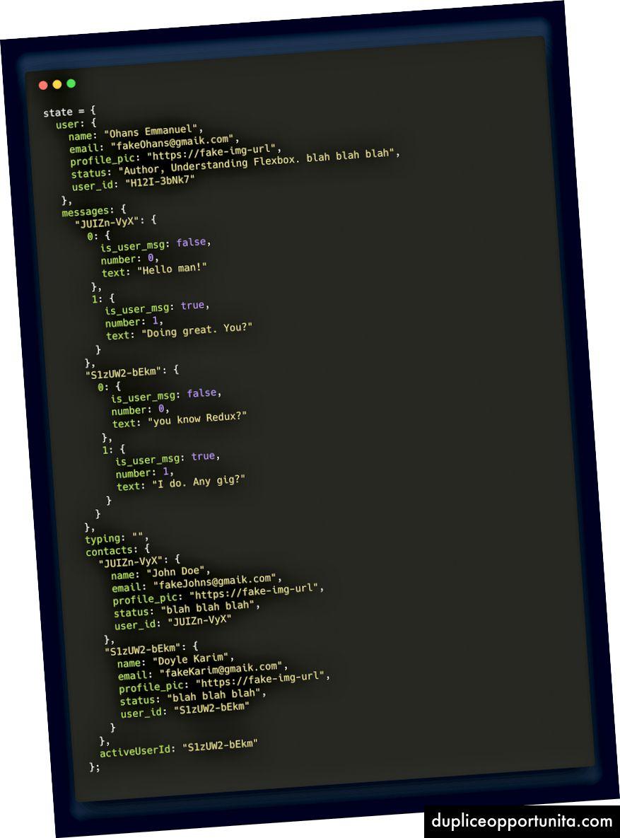 2人のユーザーの連絡先の状態オブジェクトの例。作成するアプリケーションには、10件の連絡先と10件の初期メッセージがあります。