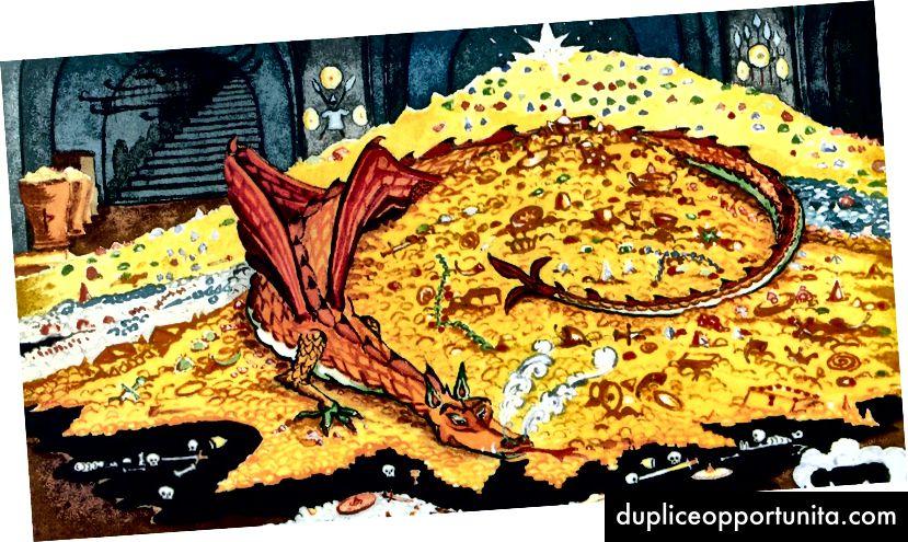 Изображение: Драконът Смауг, който пази скривалището си за биткойни (взето от tolkienlibrary.com, под лиценза за честна употреба)