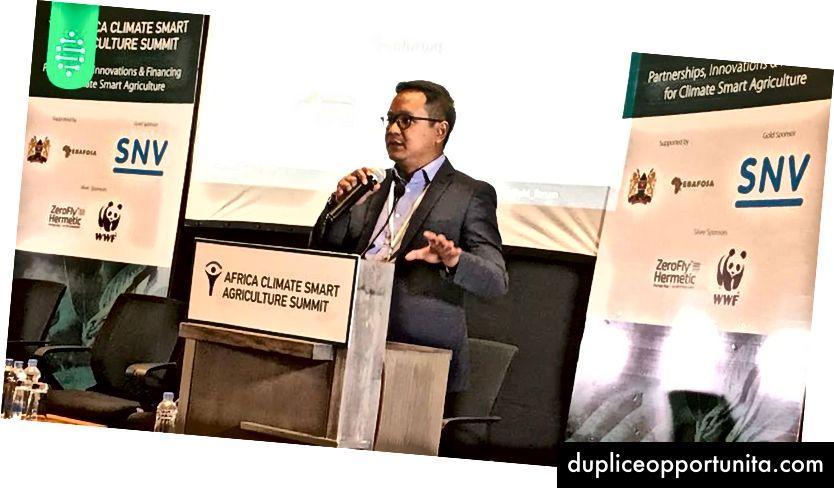 Regi (CEO for HARA) holdt en tale om, hvordan HARA hjælper fødevaresektoren i Indonesien