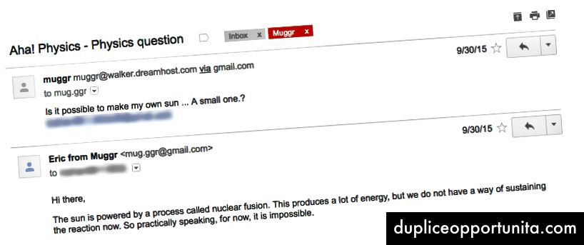 Questa è la mia e-mail preferita, da un'app che ho creato prima