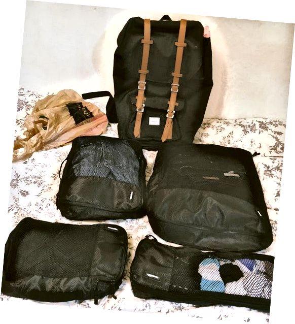 Пластыкавая сумка: турыстычная абутак; Самы вялікі кубік упакоўкі: толстовка, дажджавая куртка, штаны, шорты, гетры; Кубік сярэдняй упакоўкі: кашулі; Меншы кубік упакоўкі: шкарпэткі і ніжняе бялізну; Самы маленькі кубік упакоўкі: туалетныя прыналежнасці, купальны касцюм