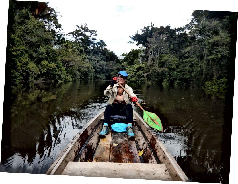 Tác giả trên sông Tayhuayo, Peru Peru