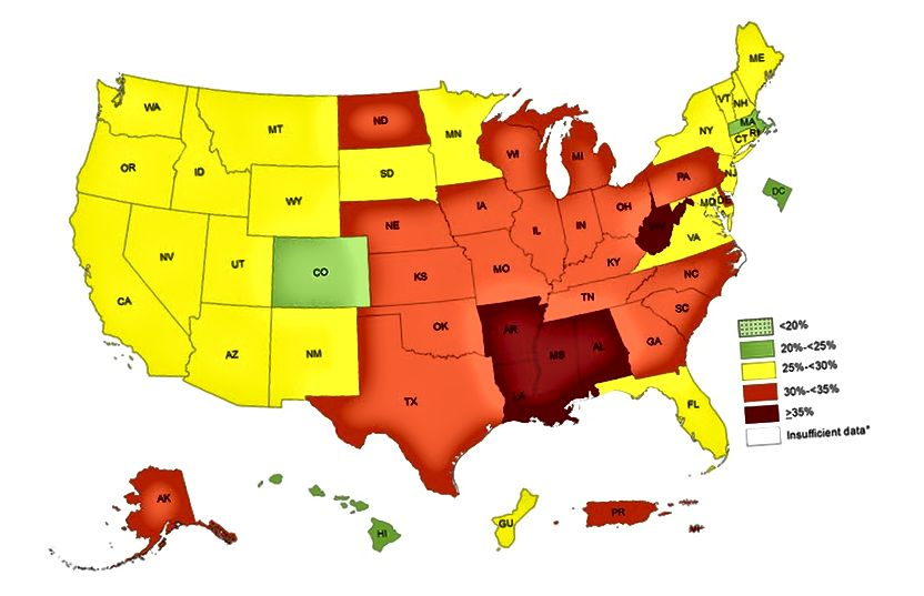 Not: sağ alt köşedeki anahtar = obezitesi olan nüfusun yüzdesi. (Kaynak)