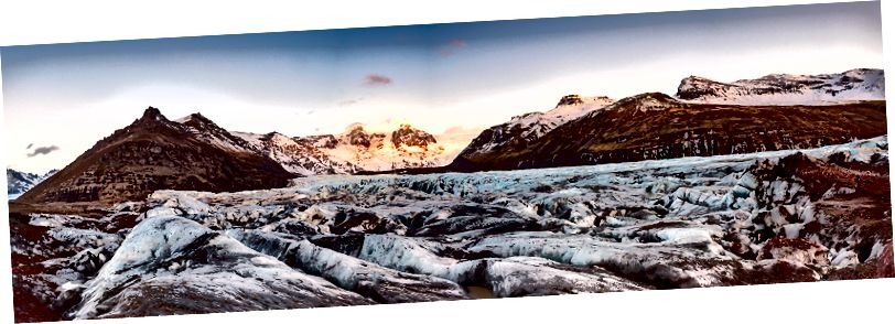 Svinafellsjokull Buzulu, Skaftafell panoramik manzaralı