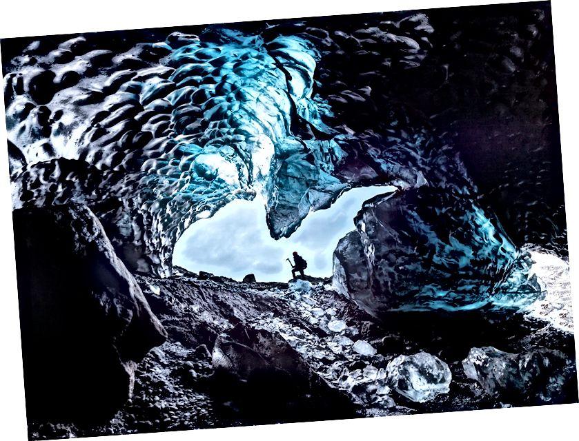 Svinafellsjokull Buzulu, Skaftafell, Batman Mağarası