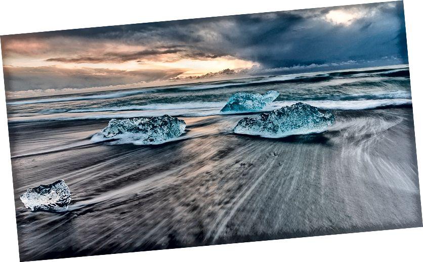 Buzdağları gündoğumu, Jokulsarlon Diamond Beach