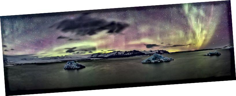 Buzul lagün panoramik manzaralı Kuzey ışıkları, jokulsarlon