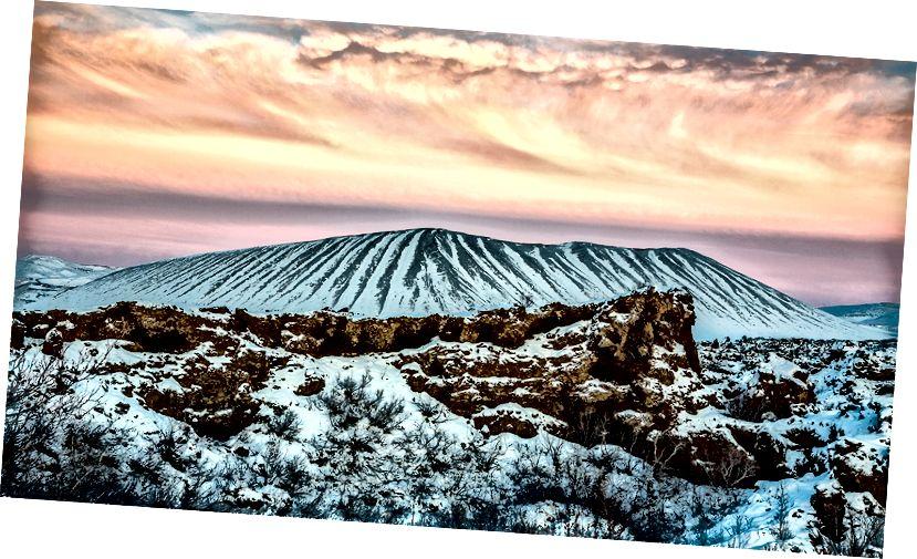 Gün batımında, Myvatn Hverfjall krater