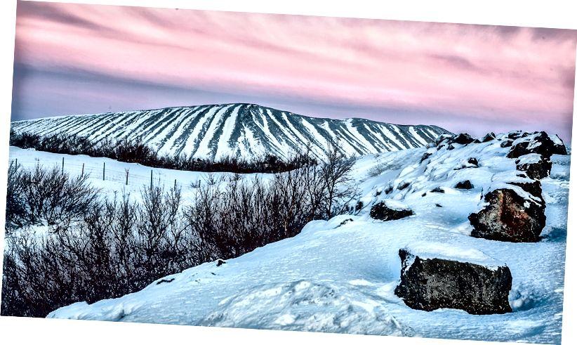 Hverfjall krater güneş battıktan sonra Myvatn