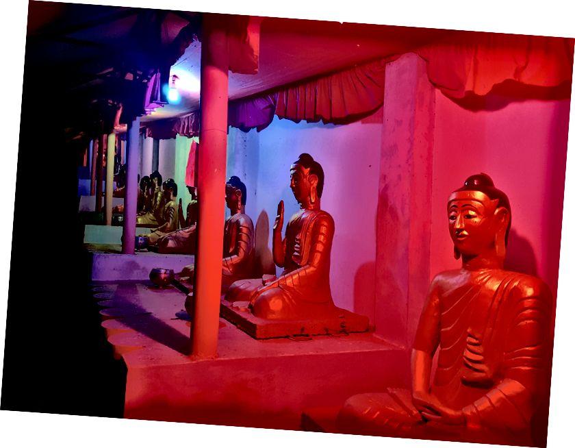 Een jonge monnik en een lange rij lichtgevende Boeddha's