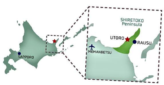 Shiretoko Hokkaido içinde yer almaktadır. Rausu'nun doğusunda Kunashir adası var