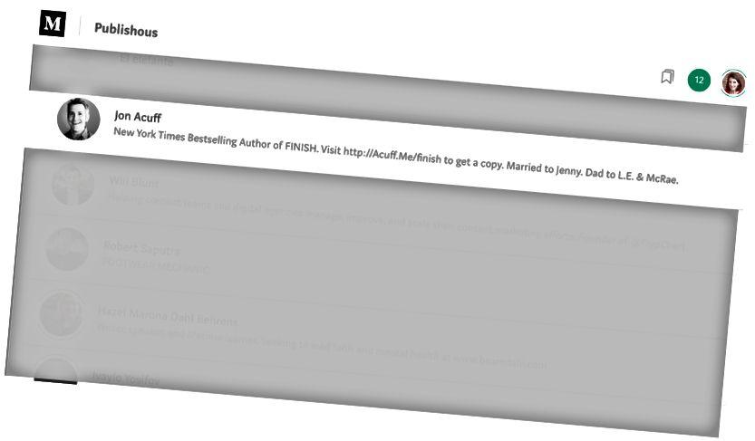 Jon Acuff Publishous- Nicole Akers'in ekran görüntüsünü takip ediyor
