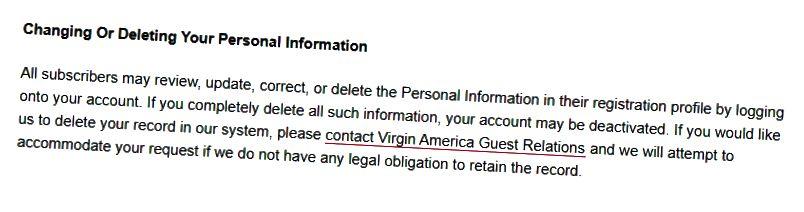 Kaynak: Virgin America Gizlilik Politikası