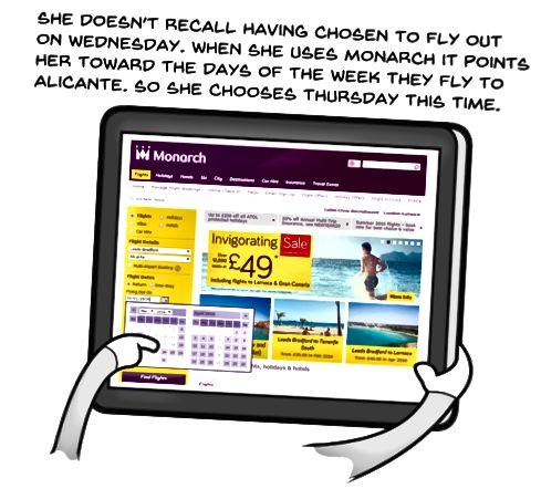 Trang web của hãng hàng không chỉ ra ngày họ bay khi cô ấy chọn ngày. Lần này cô chọn thứ năm.