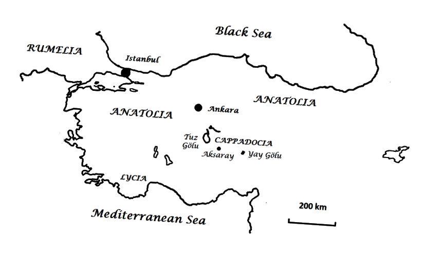 Khu vực lịch sử của Thổ Nhĩ Kỳ được đề cập trong bài này. Cappadocia và Lycia, đều ở Anatolia, bán đảo rộng lớn giữa Địa Trung Hải và Biển Đen. Rumelia là châu Âu Thổ Nhĩ Kỳ. Rumelia từng lớn như Anatolia nhưng giờ đã bị cắt cụt.