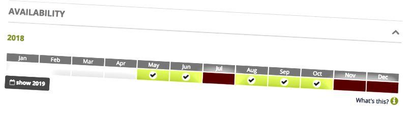 호스트의 가용성 일정을 보여주는 스크린 샷.