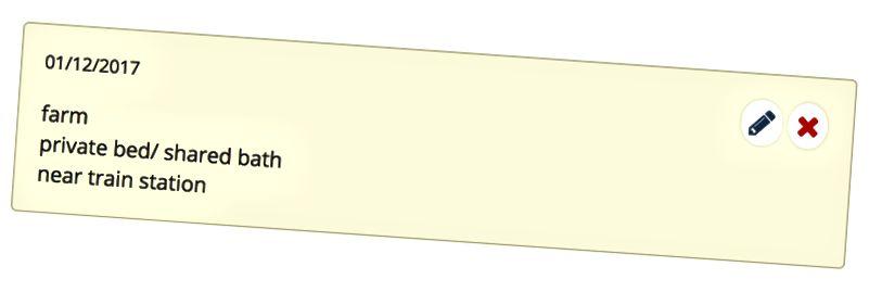 Здымак экрана, які паказвае прыклад нататкі ў спісе хостаў.