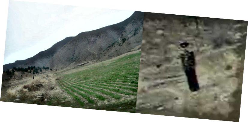 Alandaki Kuzey Kore askeri (fotoğrafın sol elinin sol tarafı; zar zor görülebilir)