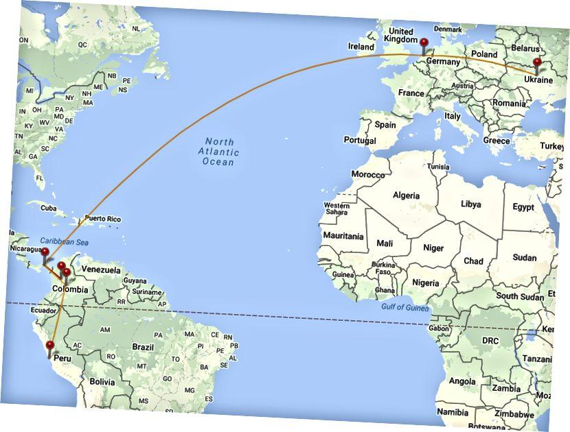 Kyiv - อัมสเตอร์ดัม - ปานามา - Medellín - Panama - Bogota - Lima