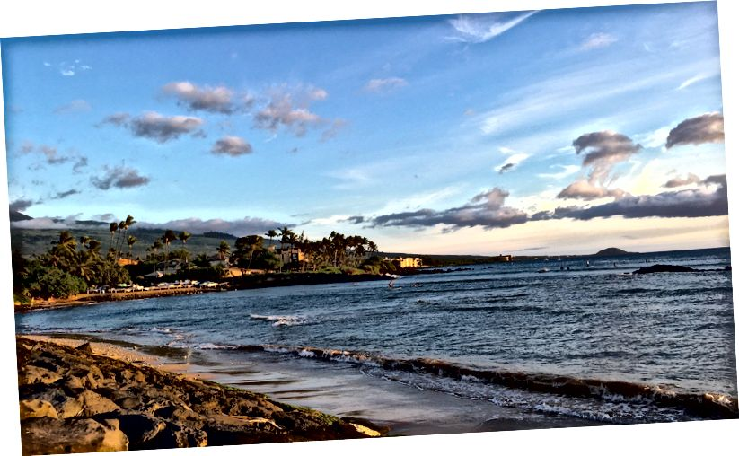 Kihei, Maui sahilinde. Fotoğraf yazar.