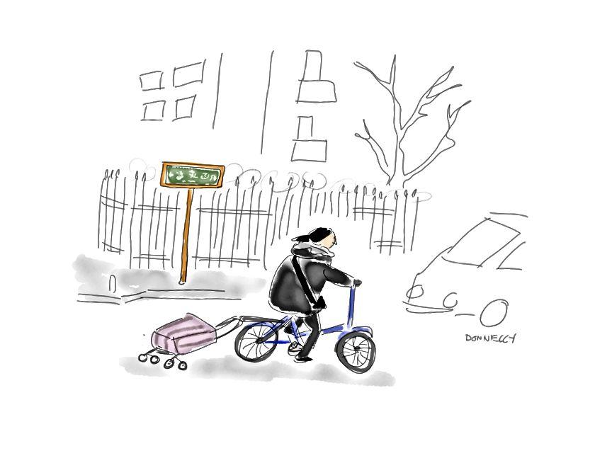 Fırçalar, boya ve kağıt hat için satan bir kadın. Bisikletinde bir kadın.