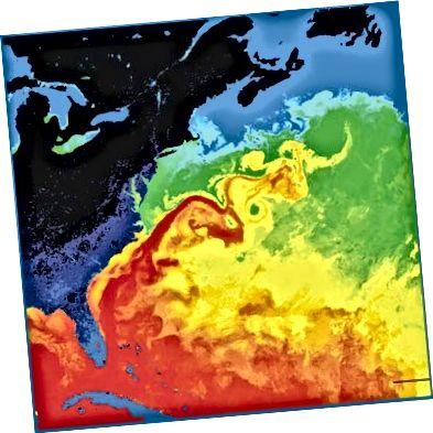 Температури поверхневих вод Гольфстріму. НАСА