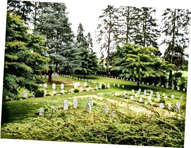 Askeri mezarlığın görünümü - Saint-Symphorien (Belçika)