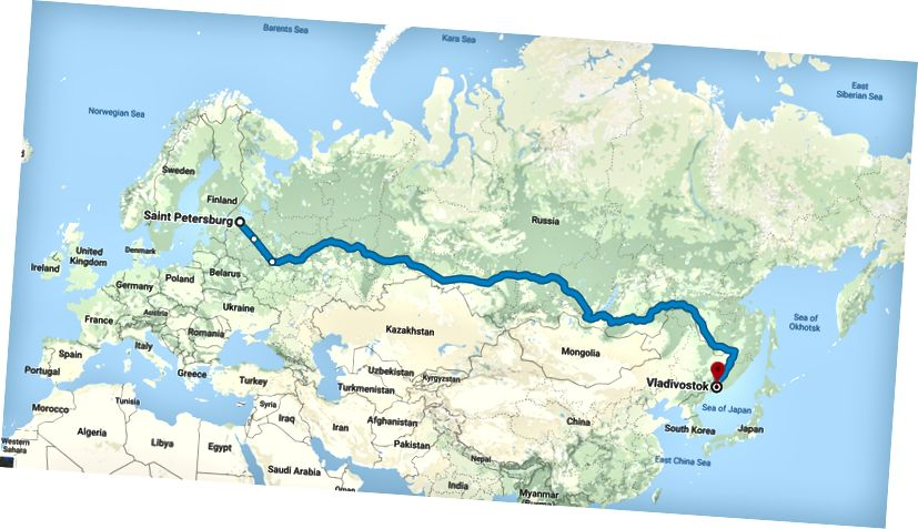 St-Petersburg'dan Vladivostok'a giden Trans-Sibirya Demiryolu boyunca yaptığım yolculuğun rotası.