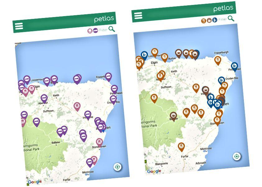Sol: Evcil Hayvanlar için Uygun Oteller ve Tatil Kulübeleri, Sağ: Evcil Hayvan Dostu Restoran, Pub, Kafe ve Barlar