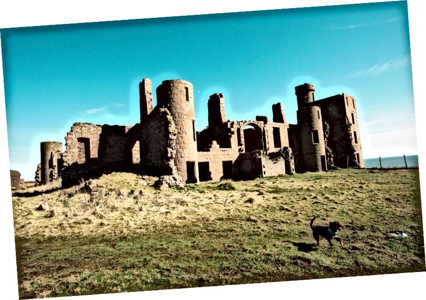 Kuzey Denizi'ne bakan Slains Kalesi kalıntıları