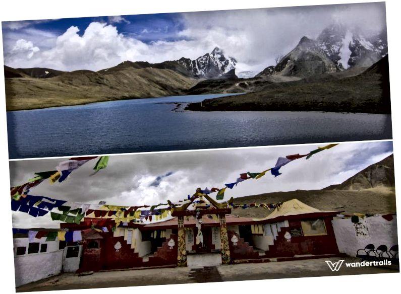Визначні місця вгорі: озеро Гурудонгмар; Знизу: Сарва Дхарма Сталь, храм біля озера