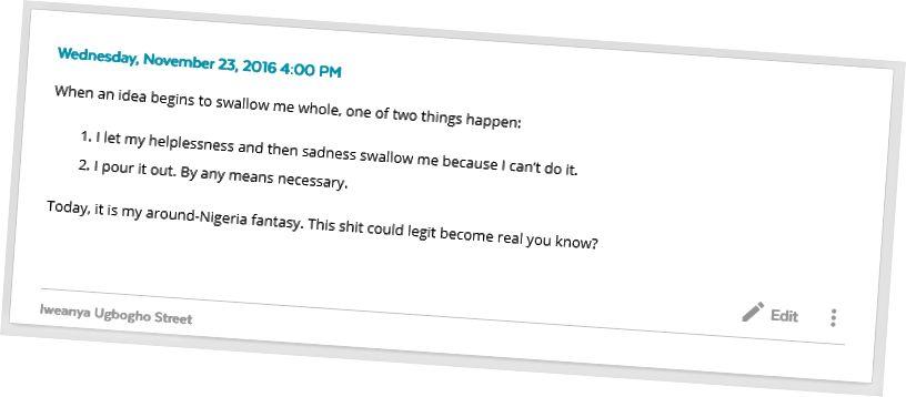 """Заїнаб Квадрі сказав кілька тижнів до цього: """"Ведіть журнал Фуад. Це допоможе вирішити вашу проблему з фокусом »."""