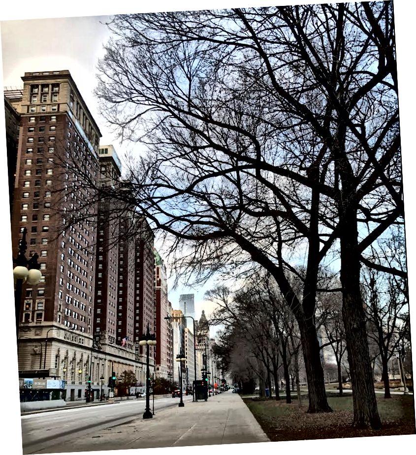 Hilton Chicago in Avenue Michigan, ki ju je posnel avtor.