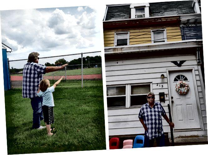 Зліва: Дідусь з онуком, роблячи позу Гейсмана в середній школі міста Глостер. Праворуч: Дідусь перед будинком дитинства, 215 Сен-Монмут, місто Глостер, штат Нью-Джерсі