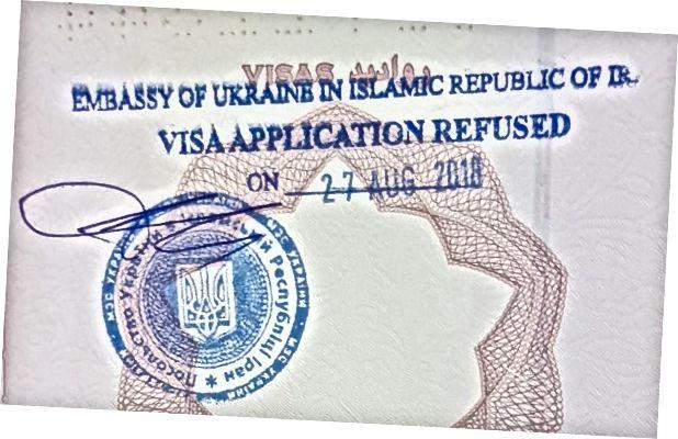İran İslam Cumhuriyeti Ukrayna Büyükelçiliği tarafından vize reddi damgası