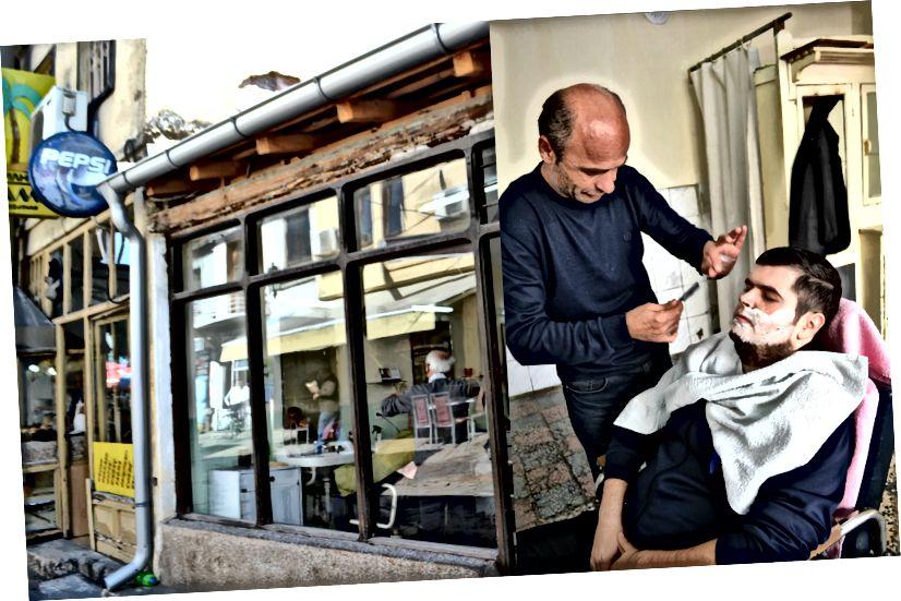 Menneskene er så snille, det overskrider språkbarrierer. For eksempel ga denne fyren i Old Bazaar meg det beste hårklippet og skjegget i livet mitt, og vi snakket NULL-ord til hverandre. Definitivt, gå og søk etter ham i butikken hans (til venstre) i en av hovedgatene i basaren