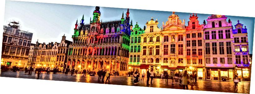 Гроте Маркт, або центральна площа Брюсселя, усе настилали кольорами веселки