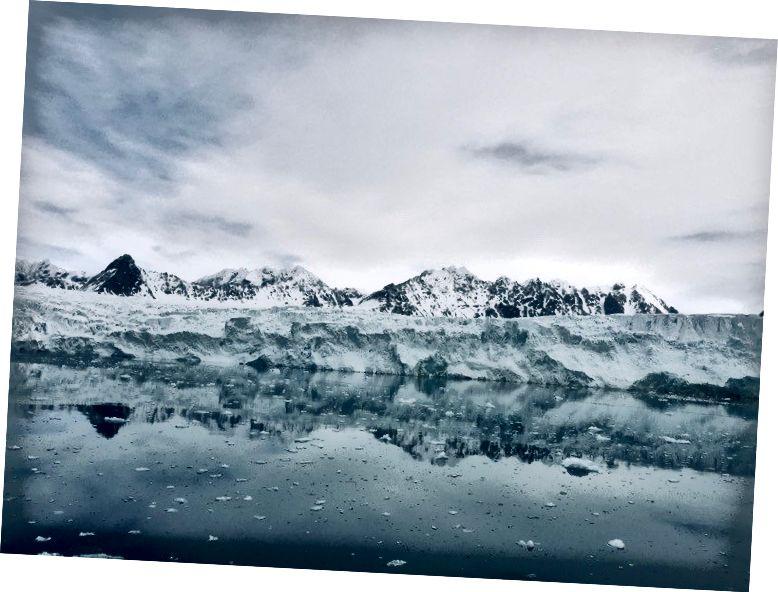 Güvenlik nedeniyle buzullara süper yaklaşmamıza izin verilmedi, ancak yine de oldukça havalı. Fotoğraf bana göre :)