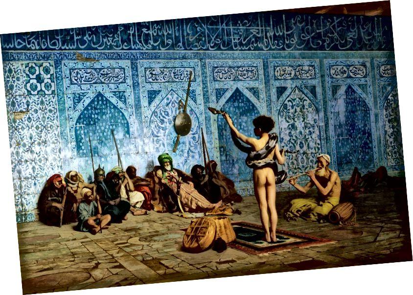 Изображение от Эдварда Саида, Ориентализм. «Заклинатель змей» французского художника Жана-Леона Жерома создал около 1879 года.
