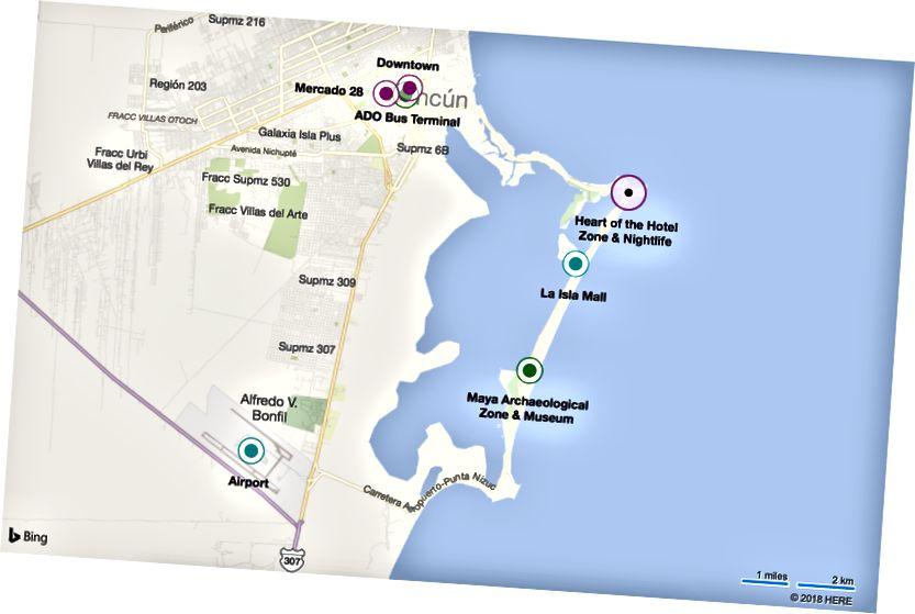 Cancun, với một số lĩnh vực chính (được đề cập sau trong bài viết này) được nhấn mạnh. Phiên bản tương tác tại Bing Maps.