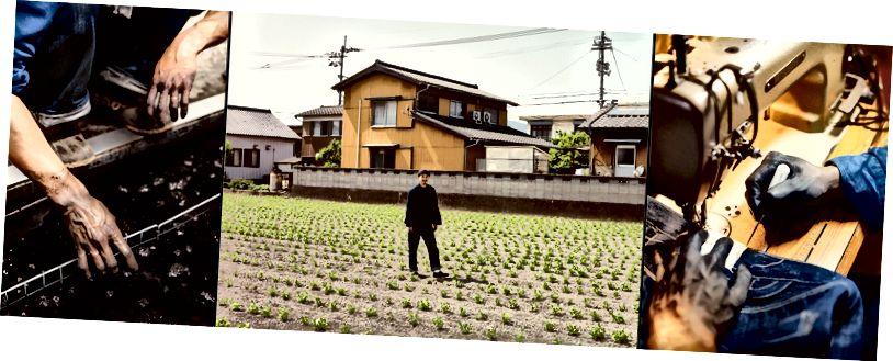Buaisou'da, sürecin her kısmı, bitkilerin yetiştirilmesinden (merkez) durulama banyosuna, dikişe (sağ), daldırma (sol) 'a kadar yapılır.