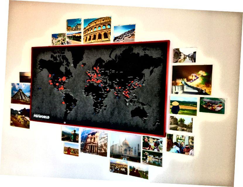 Kırmızı iğneler, seyahat sırasında ve daha önce ziyaret ettiğimiz yerlerdir. Mavi iğneler gerçekten gitmek istediğimiz yerlerdir ve gri iğneler zamanımız veya bütçemiz olsaydı gitmek istediğimiz yerlerdir.