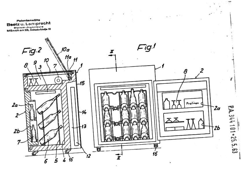 Малюнок, що входить до німецького патенту на оригінальний холодильний міні-бар.