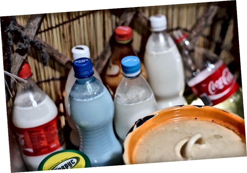 Bozoy manzarası (soldan saat yönünde): Kapıda yeni gelenler; bir 'shyrdak', geleneksel bir Kyryz keçe halı; bir köpek yavrusu hurdalarla beslenir; 'kumys' şişeleri, fermente edilmiş kısrak sütü; eşikteki başka bir çöpçü; a'tunduk ', Kırgızistan'ın ulusal bayrağını süsleyen bozoy'un dairesel üst parçası.