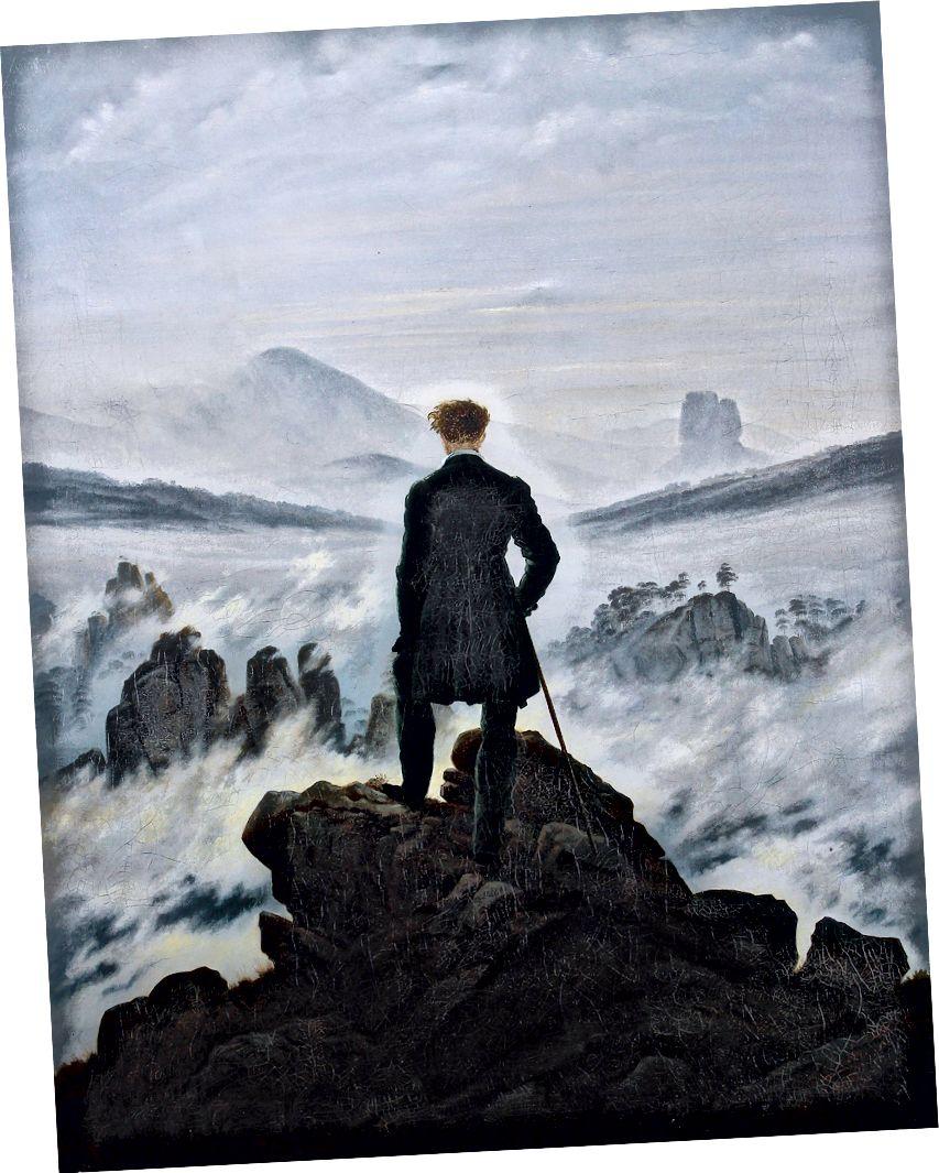 Sis denizi üzerinde gezgin Caspar David Friedrich tarafından