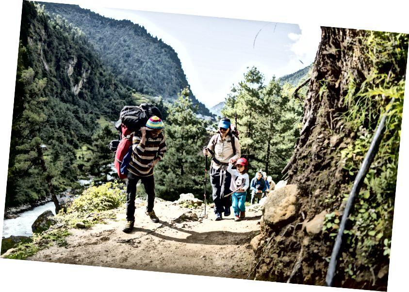 Một porter chào đón Little Chow trên chuyến đi về phía Namche Bazaar, ở độ cao 2900m.