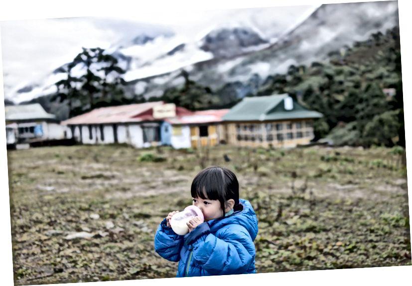 Little Chow uống sữa hai lần một ngày, chỉ để đảm bảo cô có đủ dinh dưỡng. Đó là sữa Friso.