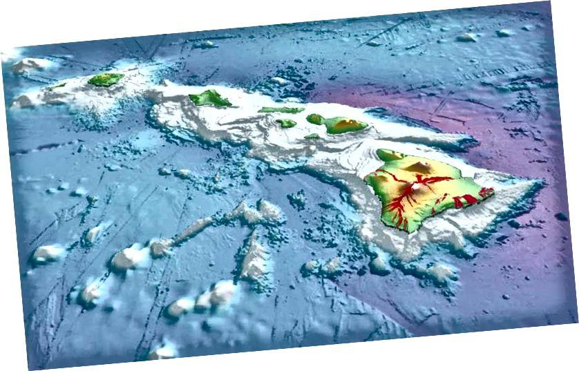 Bản đồ 3D của hòn đảo Hawaii chương trình kích thước đáng kinh ngạc của mạng dưới nước của núi, mà kéo dài xuống đáy đại dương ba dặm dưới mực nước biển. (Loạt bài điều tra địa chất USGS)